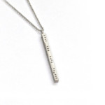Long Sterling Hand-Stamped Bar Necklace