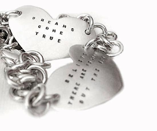 Sterling Silver Heart Script Bracelet
