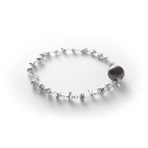 Sterling Silver Nugget Black Pearl Detail Bracelet