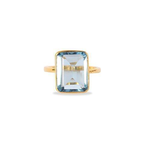 Blue Topaz Emerald Cut Cocktail Ring