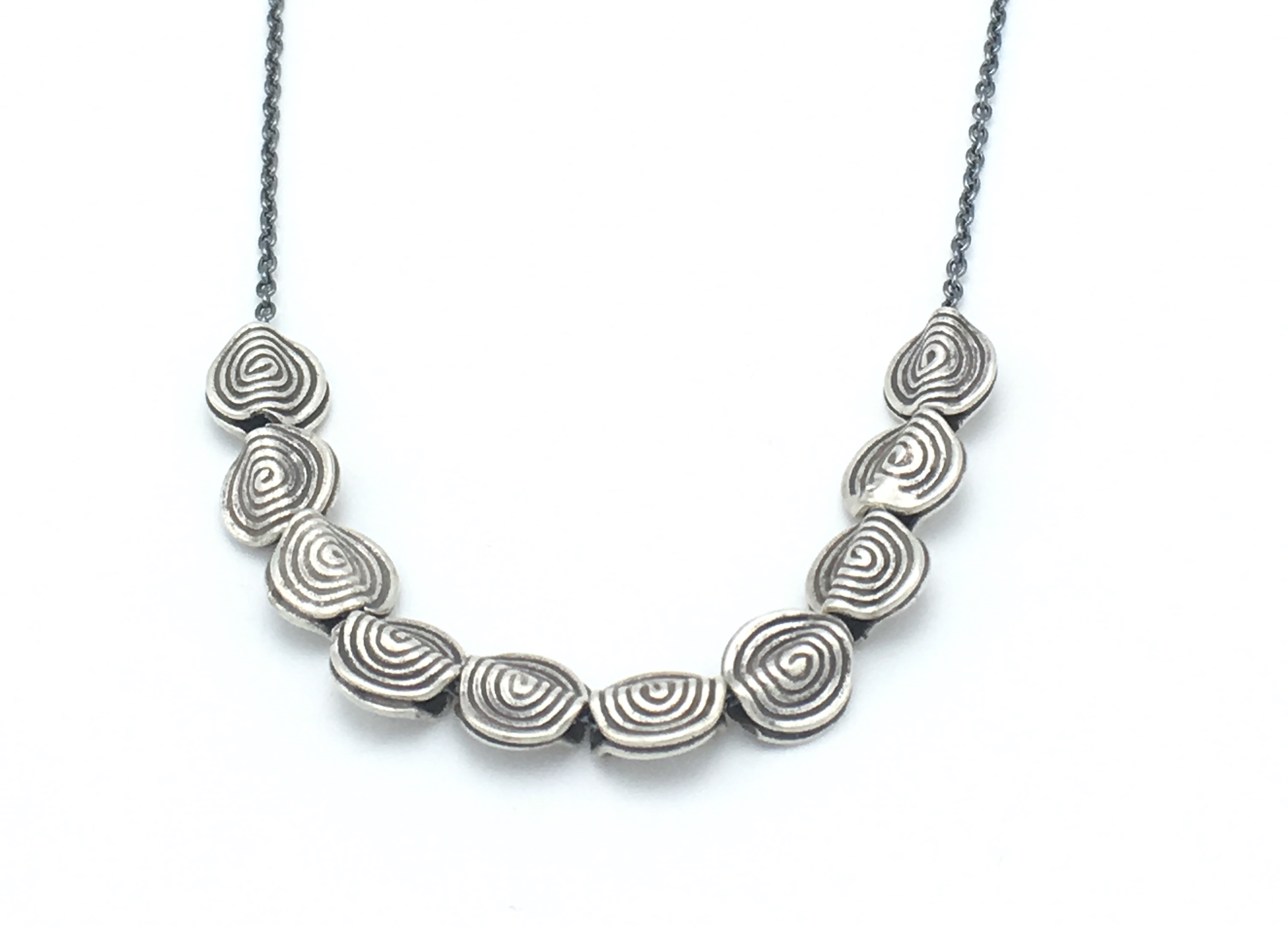 necklace sterling cm spiral womens circle shell silver pendant round silverly products abalone