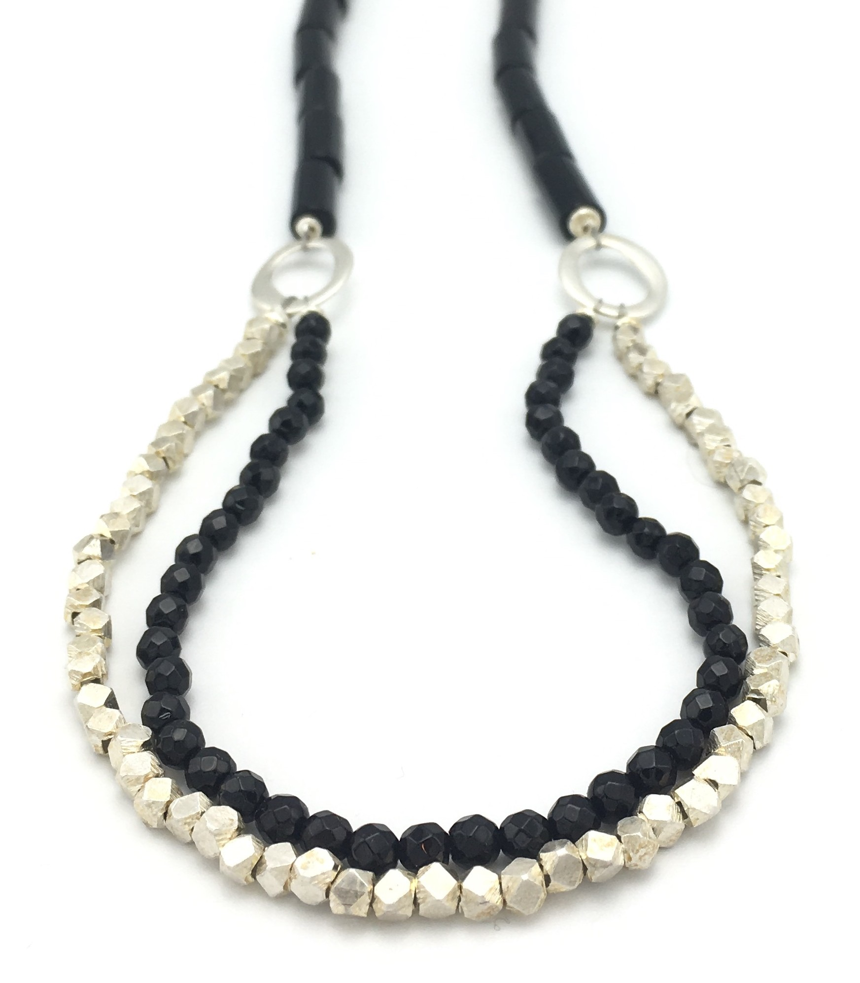 silver black in necklace onyx sterling colore
