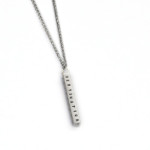 Medium Sterling Hand-Stamped Bar Necklace