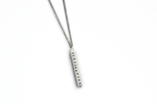 Medium Sterling Hand-Stamped Bar Necklace